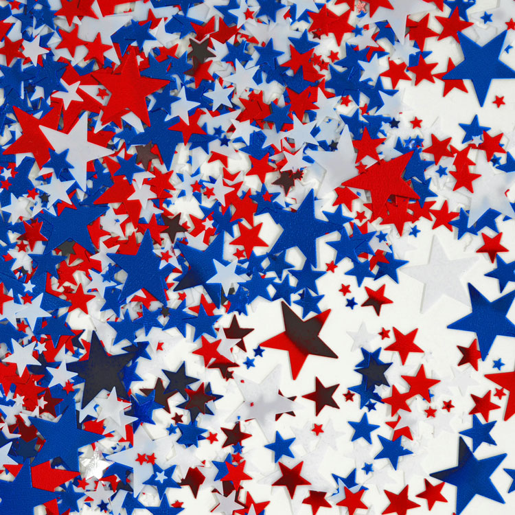Red, White & Blue Stars Metallic Confetti | Patriotic Party Supplies