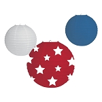 Patriotic Red, White & Blue Round Paper Lanterns (3)