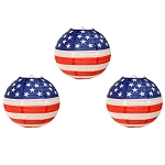 Patriotic Stars & Stripes Red, White & Blue Round Paper Lanterns (3)
