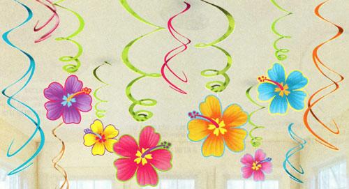 Paper hibiscus foil ceiling swirls hawaiian luau theme for Paper swirl decorations