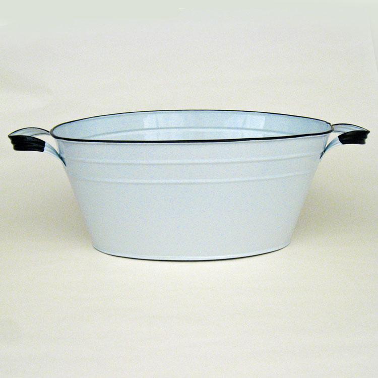White enamel vintage style oval beverage tub 12 5 x19 x8 for Oval garden tub