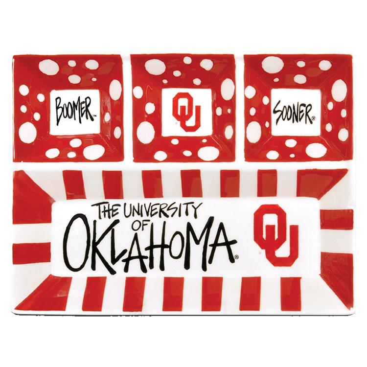 "13"" University Of Oklahoma 4-Section Ceramic Platter"