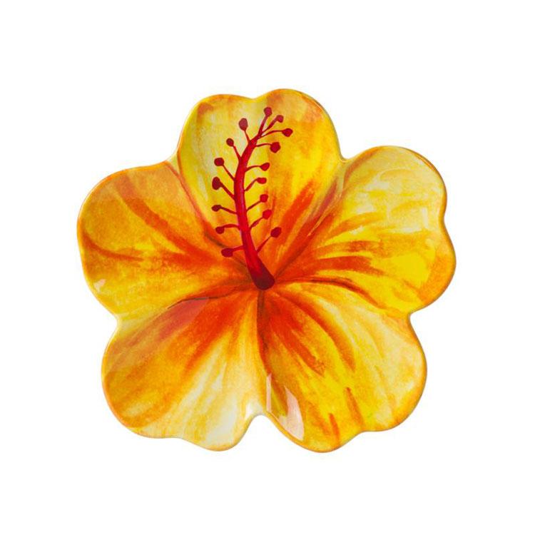 8 5 Quot Yellow Hibiscus Melamine Serving Plate Tropical Hawaiian Luau Theme Supplies