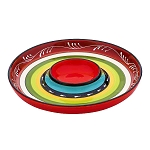 Ceramic La Cocina Fiesta Striped Chip & Dip Platter