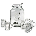 3-Gallon Masonware Jar Punch Set With 6 Glasses
