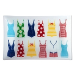 Surfer Girl Glass Serving Tray Featuring Retro-Style Swimsuits