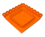 Orange Enamel Scallop Edge Square Tray - 2 sizes