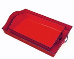 Red Enamel Rectangle Tray With Black Handles - 2 sizes