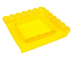 Sunshine Yellow Enamel Scallop Edge Square Tray - 2 sizes