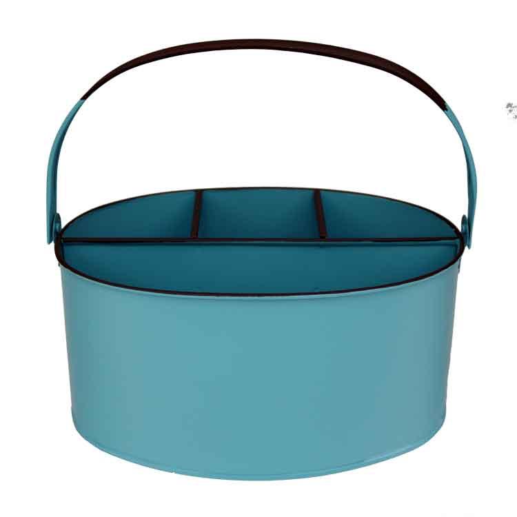 Aqua Enamel Oval Utensil Holder 11 X 7 X 6