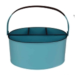 Aqua Enamel Oval Utensil Holder - 11