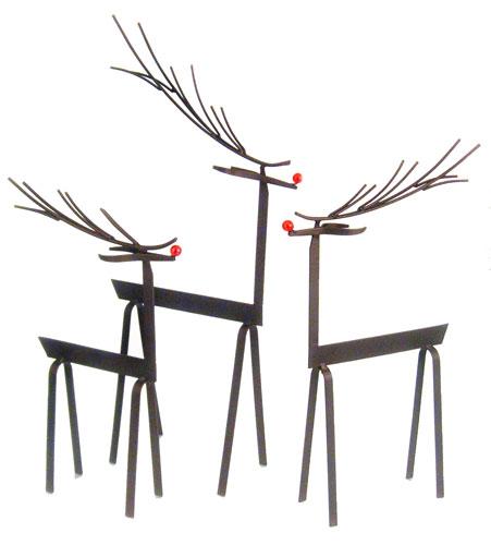 Woodlands Reindeer Metal Sculpture Set Of 3