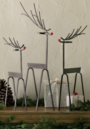 Woodlands Reindeer Metal Sculpture Set Of 3 Winter