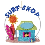 Glittered Metal Surf Shop Coastal Christmas Ornament