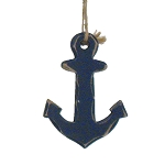 Admiralty-Style Wood Anchor Coastal Christmas Ornament - 2 colors