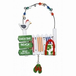 Fence With Beach Towels Coastal Christmas Ornament