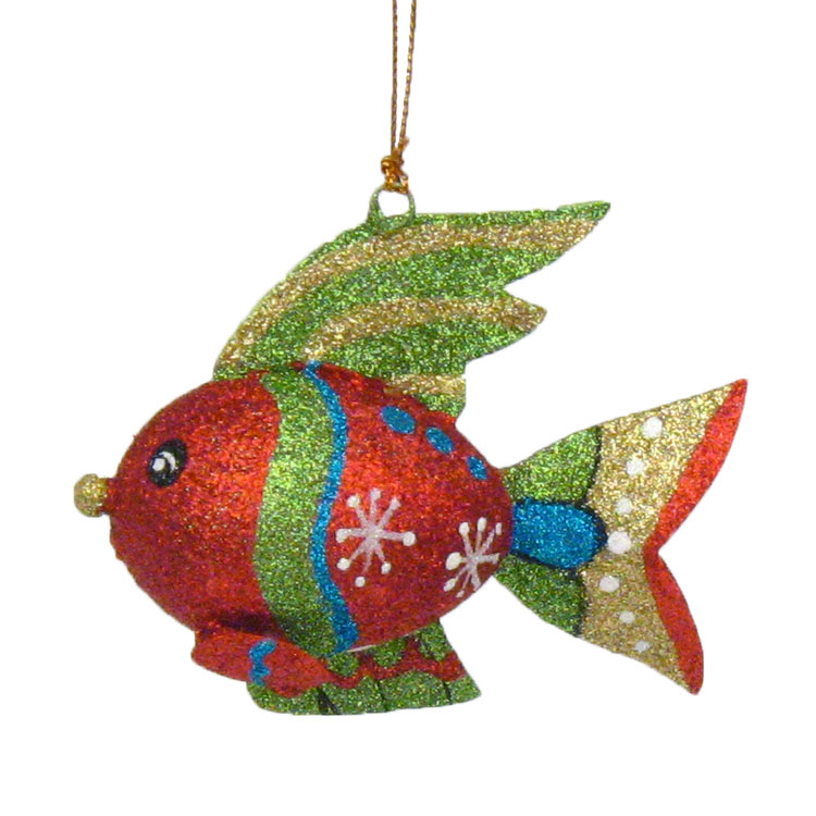 glittered tropical fish coastal christmas tree ornament