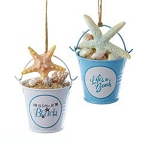 Sand Bucket & Sea Shells Coastal Christmas Tree Ornament