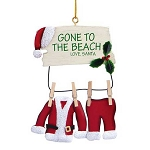 Santa GONE TO THE BEACH Clothesline Coastal Christmas Ornament