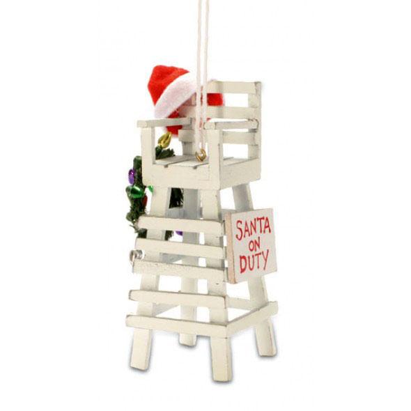 Santa On Duty Lifeguard Chair Coastal Christmas Ornament