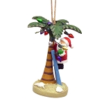Santa's Christmas Palm Tree With Lights Coastal Christmas Ornament