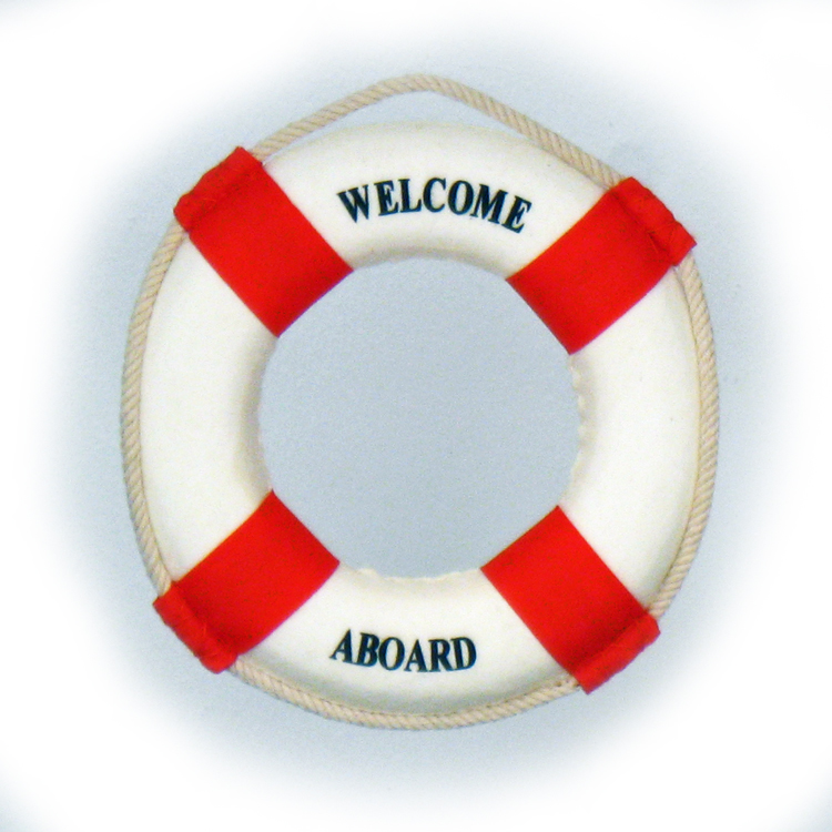 "6"" Welcome Aboard Life Preserver - Blue Or Red"