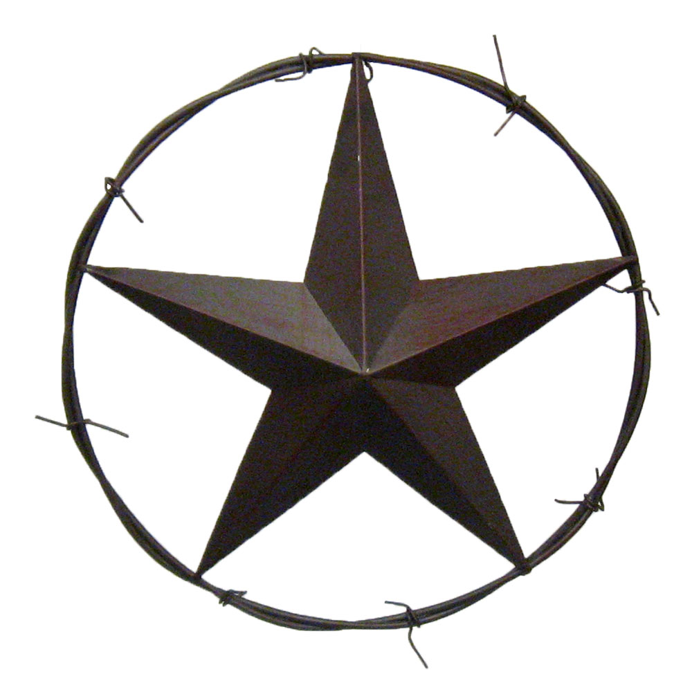 "Metal Star Wall Decor 16"" Barbed Wire Dimensional Metal Barn Star  Country Western"