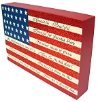 America the Beautiful Flag Wood Block
