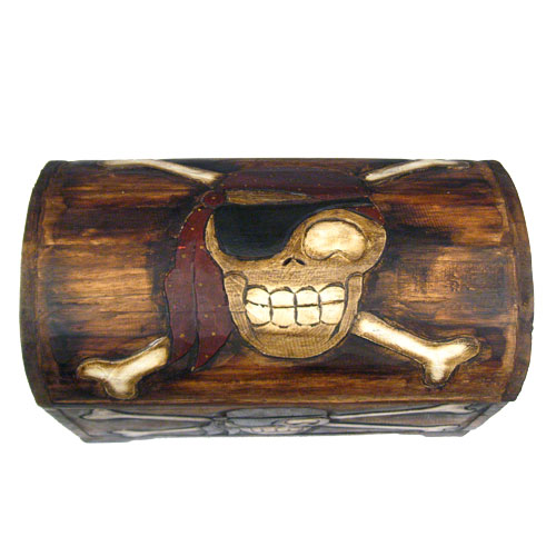 carved wood pirate treasure chest