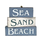 SEA | SAND | BEACH Weathered Painted Wood Blocks Sign
