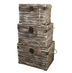 Decorative Weathered Wood Trunk With Rope Handles - 3 sizes