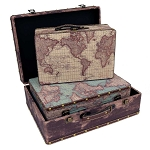 World Map Upholstered Wood Suitcase - 3 sizes