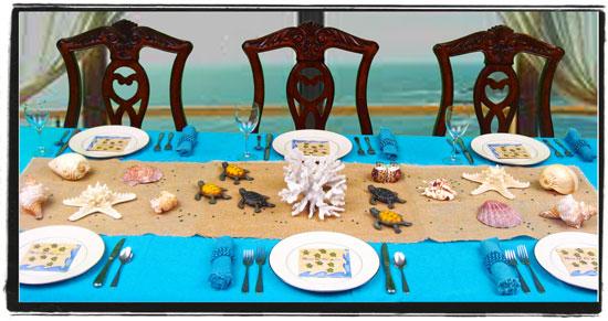 seven ocean themed centerpieces for a sun sand and surf Table Top Centerpieces ocean themed baby shower centerpieces