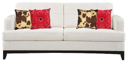 White Sofa With Cowhide & Bandana Throw Pillows