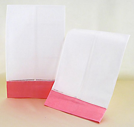 Decorative White Hand Towels With Carnation Pink Satin Border (2) **CLEARANCE**