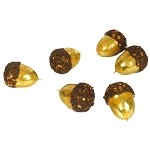Large Gold & Beaded Decorative Acorns (6)