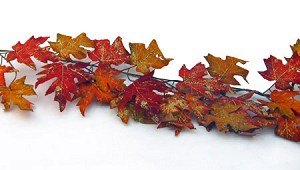 "70"" Glittered Orange Maple Garland"