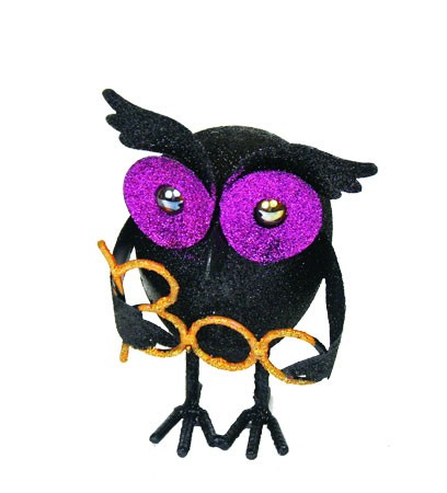 "Glittered Black Owls - ""Boo"" & ""Hoot"""