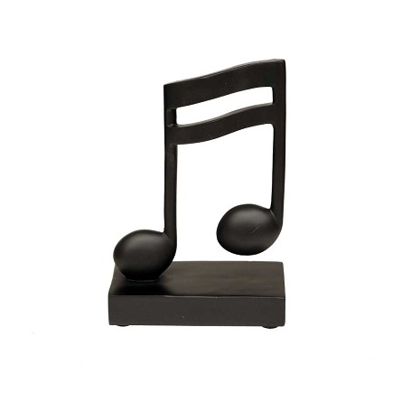 "5.5"" Black Double Bar Musical Note Statuette"