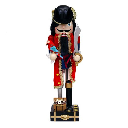 "14"" Red Coat Peg Leg Pirate Nutcracker"