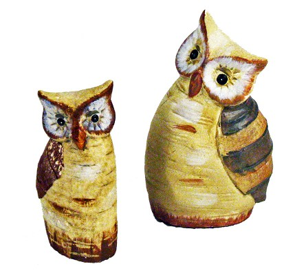 Ceramic Birch Tree Owls