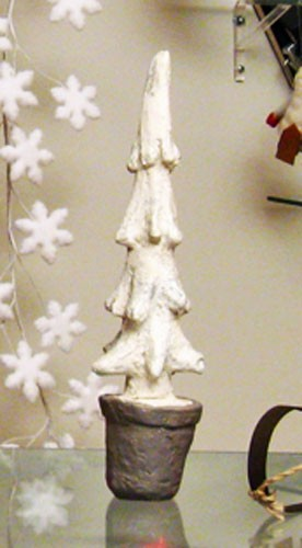 "13"" Glittered Snow-Laden Evergreen Tree Sculpture"