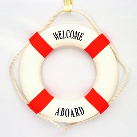 "14"" Welcome Aboard Life Preserver - Red (Damaged)"