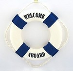 "13"" Welcome Aboard Life Preserver - Blue"