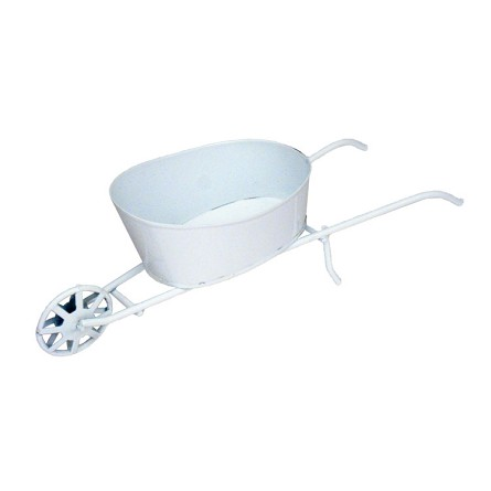 "9"" x 3"" Mini White Enamel Wheelbarrow"