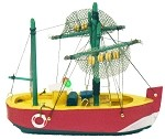 "5"" Painted Wood Fishing Boat"