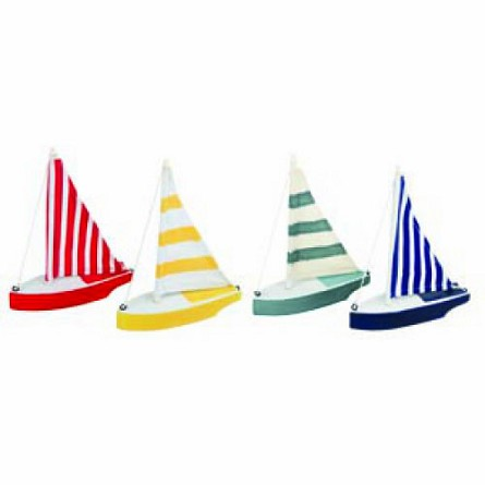 "6.5"" Wooden Sailboat With Striped Sail - 4 colors"