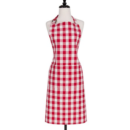 Gingham Check Cotton Chef's Apron - Red or Blue