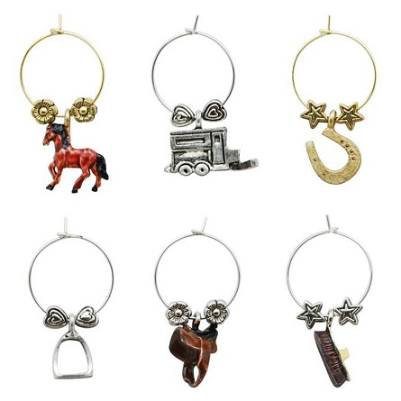 Equestrian Themed Wine Charms (6)