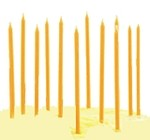 "6"" Orange Mini Taper Birthday Party Candles (12)"